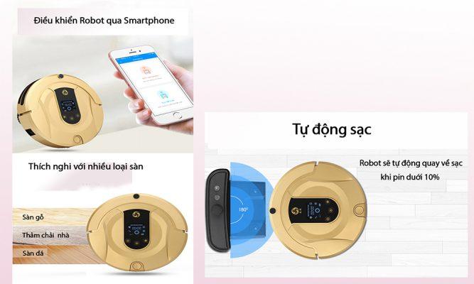 Khả năng điều khiển qua smartphone và tự động sạc
