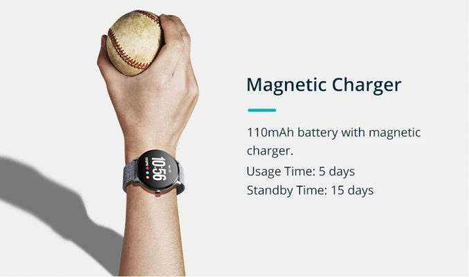 pin có dung lượng 110mAh, thời lượng 5-7 ngày