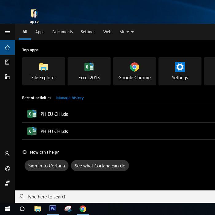 Nhấn tổ hợp Windows + S