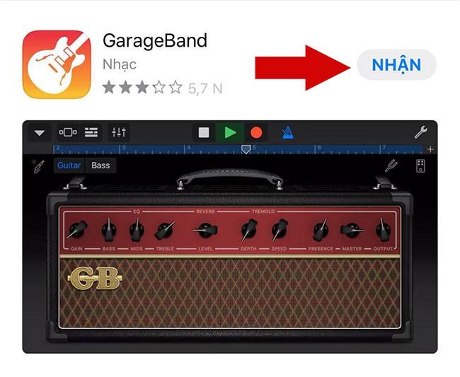 tải ứng dụng GarageBand.